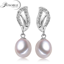 YoNoble Natural Pearl earrings for women white freshwater pearl earrings 925 Sterling Silver earrings wedding jewelry girl gift цена в Москве и Питере