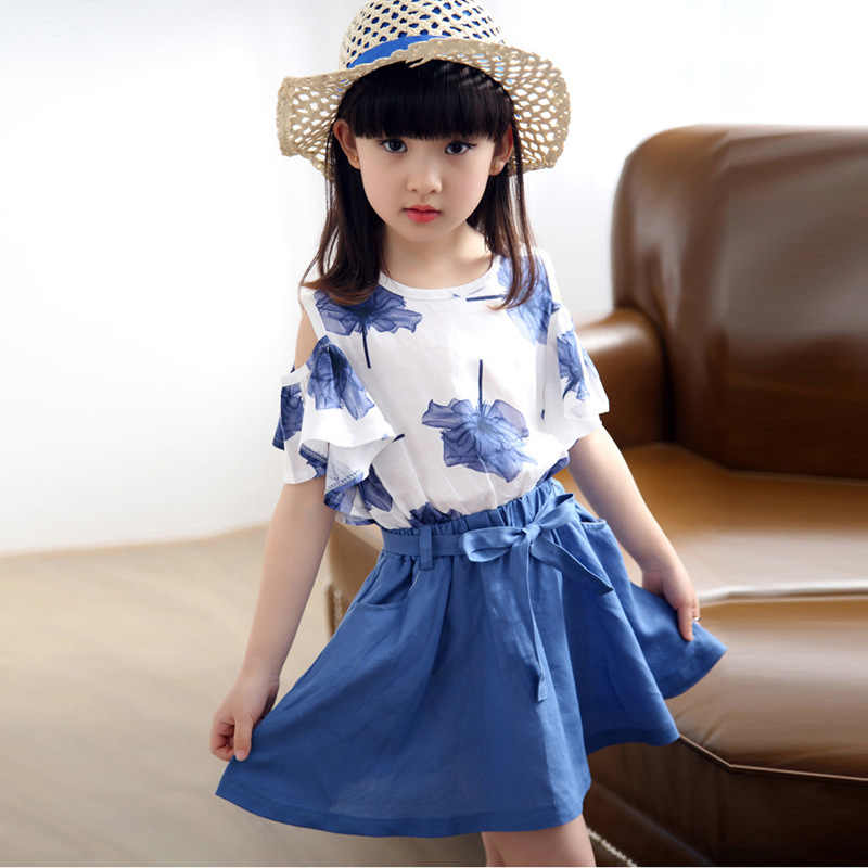 Summer Kids Girls Clothing Sets Cute Princess Maple Leaf Print T-shirt +flax Skirt Children Clothing Set Wear 3-14 Ages