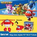 6 unids/set 15 cm alas súper deformación avión Robot figuras de acción Super alas transformación juguetes de chorro para los niños de regalos Becky