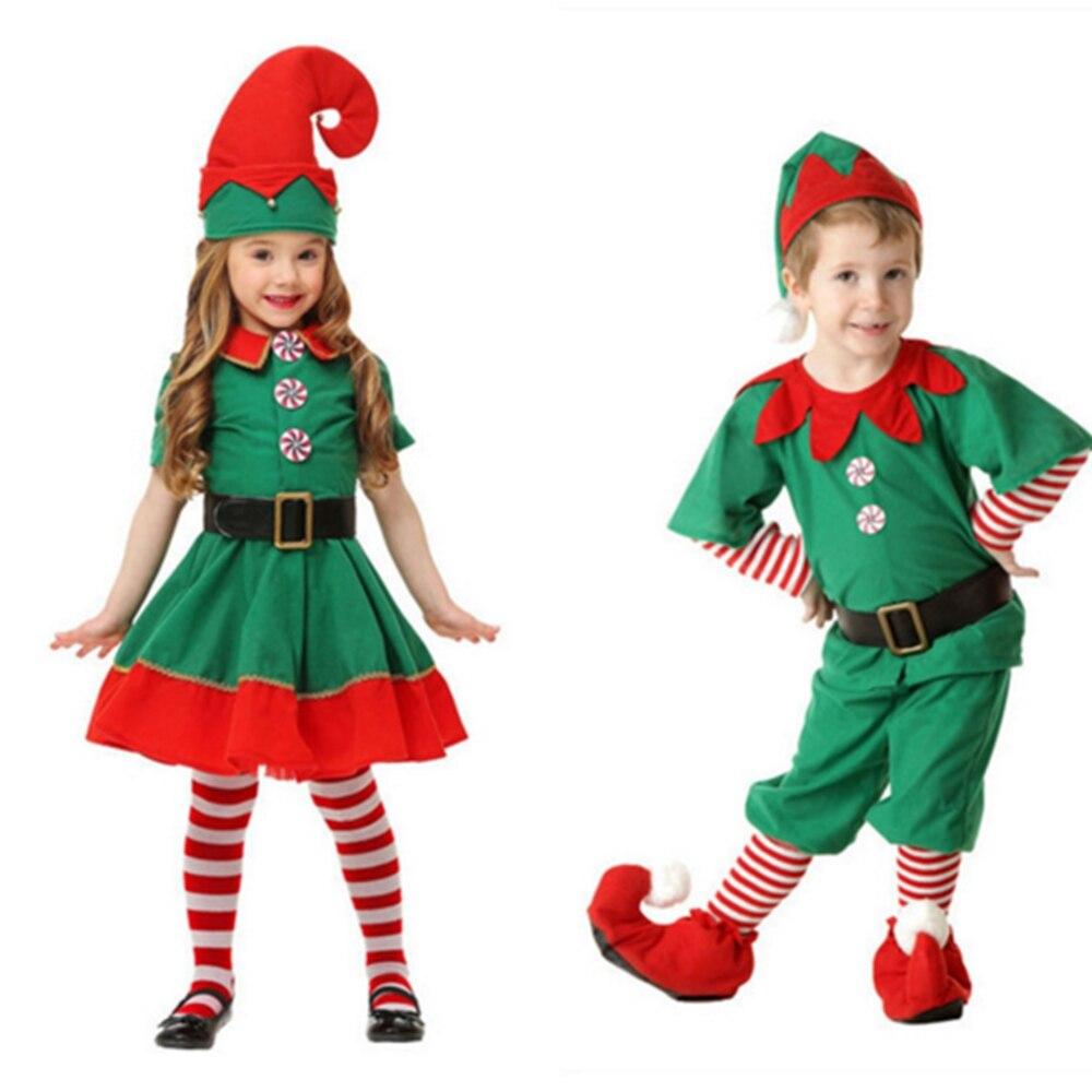 Findpitaya Kids Boy Girl Christmas Elf Costume Kids Green Elf Cosplay Costumes Carnival Party Supplies Purim Halloween Christmas