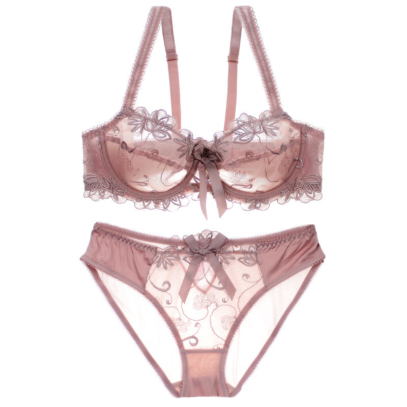Ultra-thin Embroidery Transparent   Bra     Set   Underwear Women Push Up   Bra     Brief     Set   Sexy Lace Bowknot   Bra   And Panty Lingerie   Set