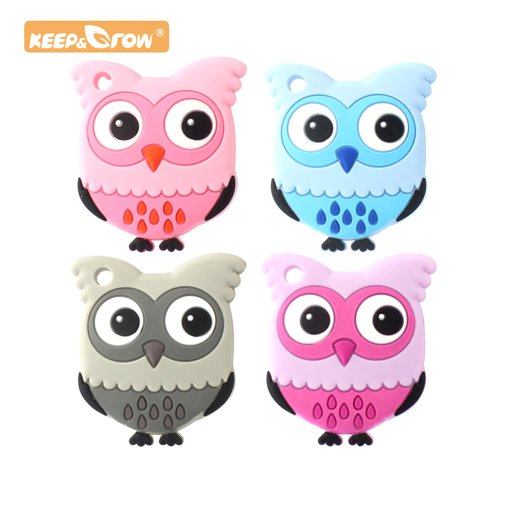 Keep&Grow 1pc Owl Silicone Teethers Food Grade For DIY Baby Teething Necklace Silicone Beads Teething Toddler Toys