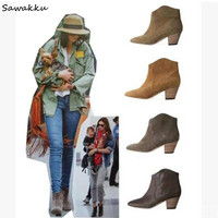 Retro Women Anke Cowboy Boots Western Chaussures Rubber Chunky Mid Heel Suede Leather Botas Zipper Ladies Shoes Woman Winter