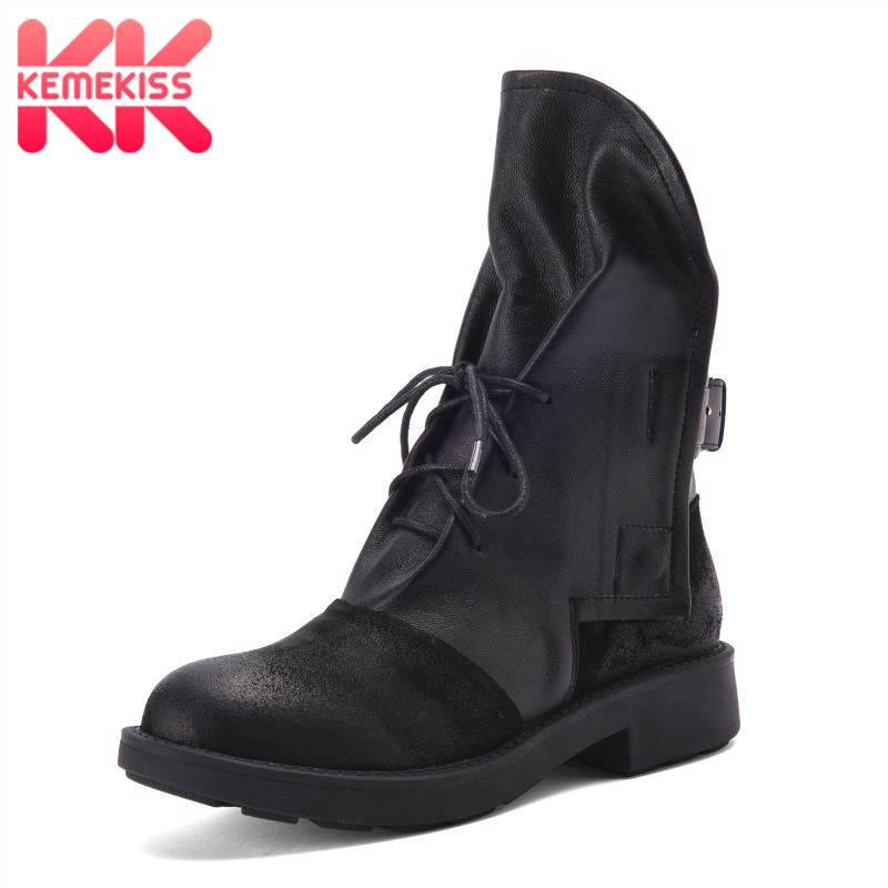 Kemekiss 겨울 발목 부츠 여성 정품 가죽 레이스 여성을위한 서양 신발 패션 오토바이 가을 플랫 부츠 크기 34 39-에서앵클 부츠부터 신발 의  그룹 1