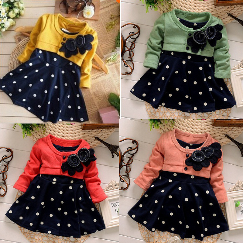 9103daf56 HH Baby girl dress princess autumn Dots dress wedding kids party dresses  baby frock designs christening 1 year birthday dress-in Dresses from Mother  & Kids ...