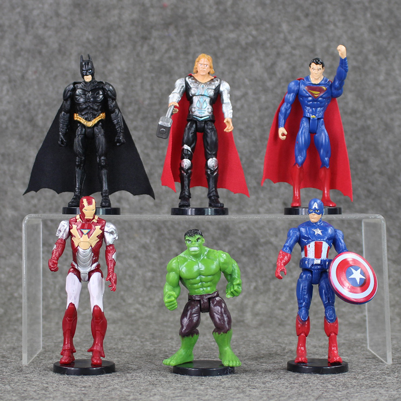 все цены на NEW 6Pcs/Set Superheroes The Batman Spider man Iron Man Hulk Thor Captain America PVC Figure Model Toy онлайн