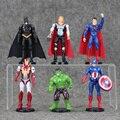 NOVO 6 Pçs/set Super-heróis Os Vingadores Homem De Ferro Hulk Thor Capitão América Batman homem Aranha PVC Modelo Figura Toy