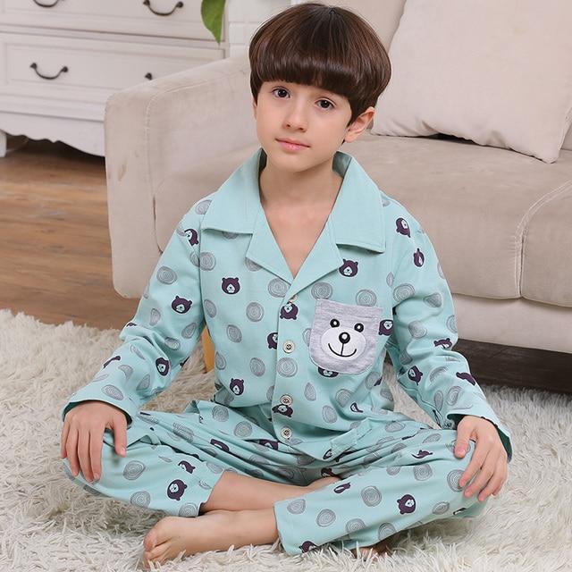 03ebfadc38 Korean Pijama Infantil Teens Teenager Boys Pajamas Set 100% Cotton Autumn  Winter School Children s Pajamas
