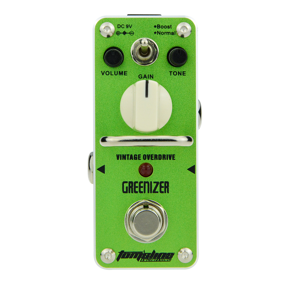 AROMA Tom'sline AGR-3 GREENIZER Vintage Overdrive Mini Analogue Effect True Bypass agr 3 greenizer vintage overdrive guitar effect pedal aroma mini analogue guitar accessories with true bypass footswitch