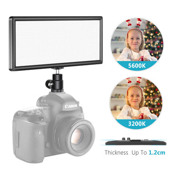 Neewer Super Slim Bi-color Dimmable LED Video Light with LCD Display-Ultra High Power On Camera LED Panel 3200K-5600K for Photo цена 2017