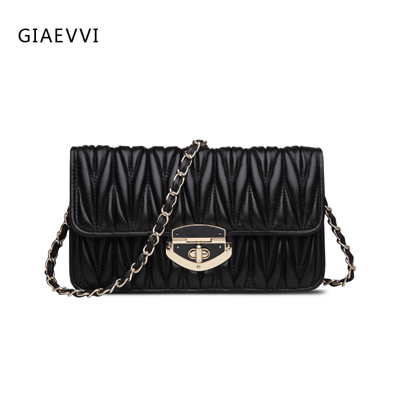 GIAEVVI Genuine Leather women Messenger bags 2017 New Brand summer fashion Chain shoulder strap women shoulder bag lady handbags giaevvi luxury handbags split leather tote women messenger bags 2017 brand design chain women shoulder bag crossbody for girls