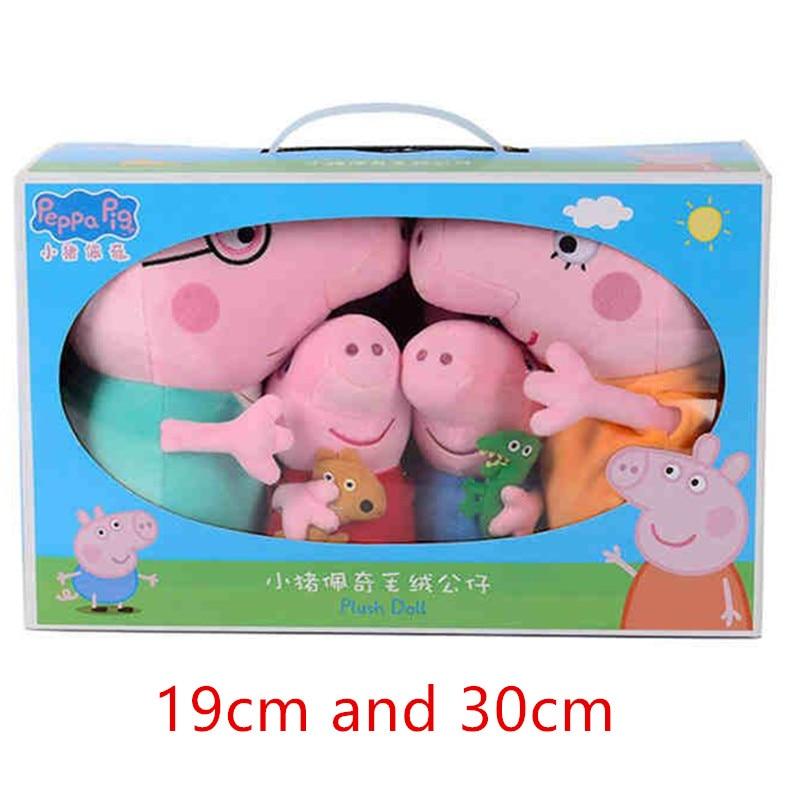 Peppa Pig auténtica de animales de peluche de tamaño grande, 4 unidades por juego, familia de cerdos, regalo de Navidad