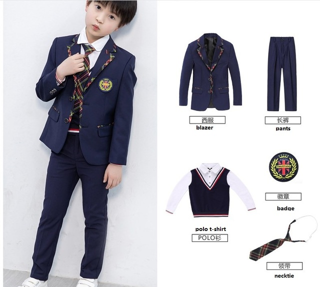 T053 110-180cm Kindergarten Garden College British Style Children's Sets Primary School Graduation Suit  Party School Uniform