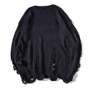 #5207 Oversize Round Neck Sweater Men Loose Black/Navy Blue Holes Vintage Hip Hop Pullover Mens Jumpers High Street Knitwear