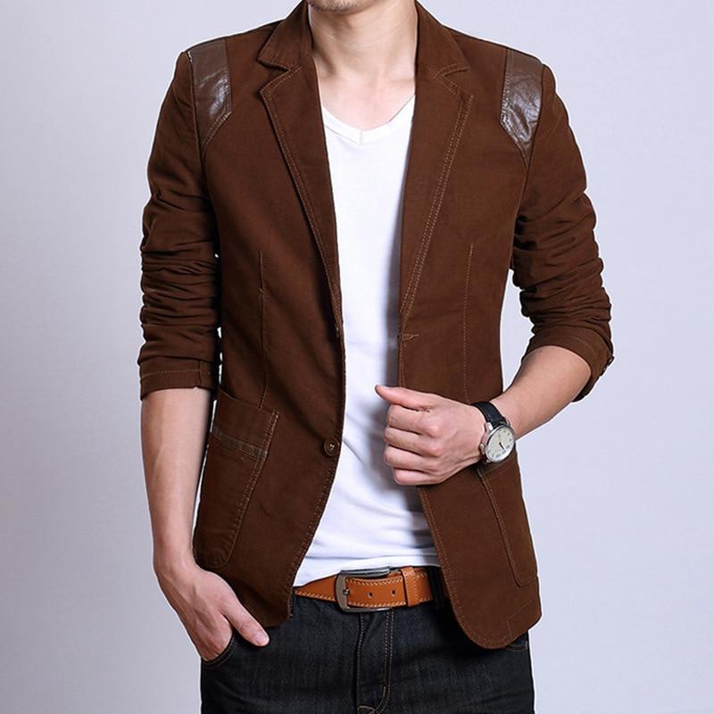 2016 Autumn Korean men's suit fight skin Slim thin section leisure male fashion cotton blazer Bust 96-104 cm M-5XL - 3C clothing store