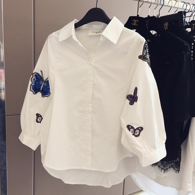 85911f5340 Primavera outono de moda de todos os jogos casuais Solta borboleta bordado  lapela camisa de manga Longa mulheres de grande porte