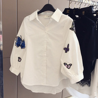 Spring Autumn Casual Fashion Cute Butterfly Embroidered White Cotton Shirt Collar Shirt Large Size Women
