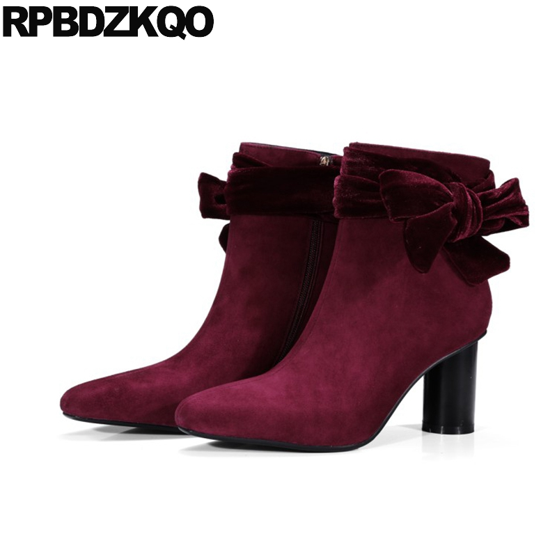 Sheepskin Ankle Velvet High Heel Square Toe Luxury Brand Shoes Women Booties Lace Up Suede Wine Red Bow Boots Size 34 Chunky designer luxury designer shoes women round toe high brand booties lace up platform ankle boots high quality espadrilles boot