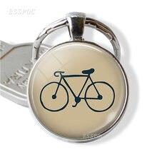 Велосипед Мода брелок стекло кабошон серебро покрытый велосипед