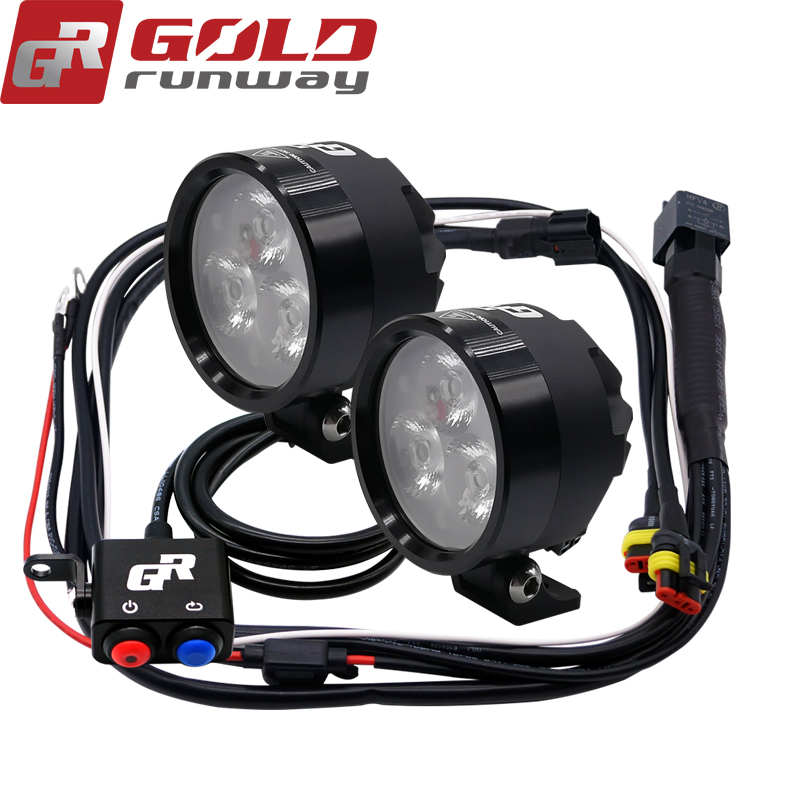 2PCS GOLDRUNWAY EXP3 12V 18W Motorcycle XP G3 LED Headlight 2400LM Led DRL Fog Spot Light