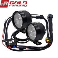 2PCS GOLDRUNWAY EXP3 12V 18W Motorcycle XP G3 LED Headlight 2400LM led DRL Fog Spot Light Lamp Angle
