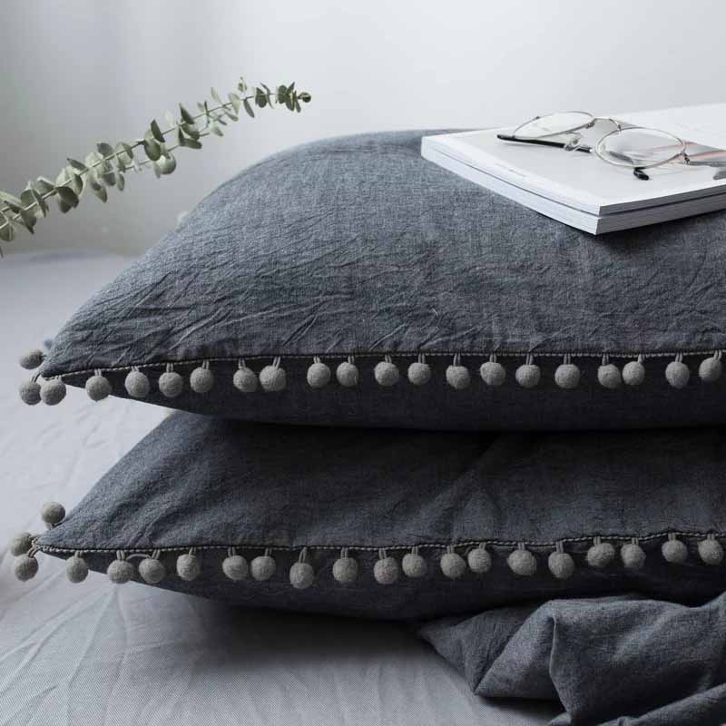 Lannidaa 1pc 100% Cotton Pillowcase High Quality Pillow Case Pillow Cover Solid Sleeping Bed Pillowcases With Dot Ball 48x74cm
