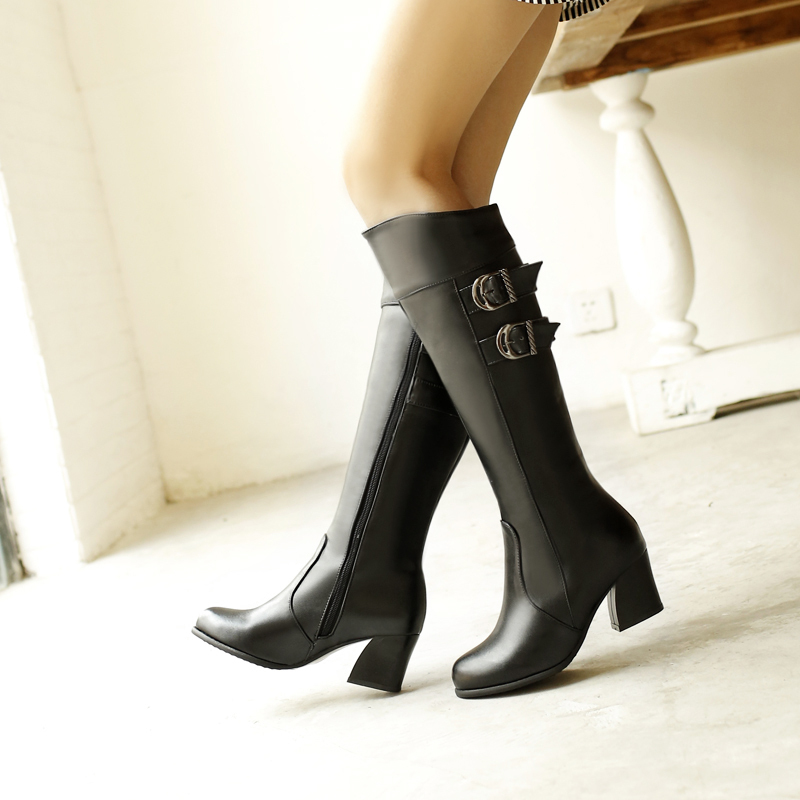 ФОТО BISI GORO women boots thick heel knee high boots for women spring and autumn leather high boots buckle 2017 large size 34-48