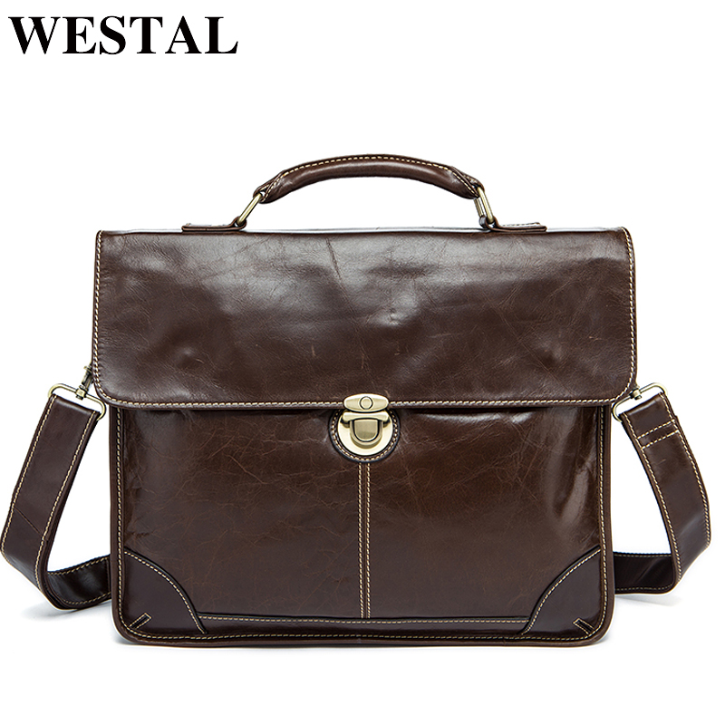 WESTAL Genuine Leather shoulder bags for men messenger briefcases for documents bussiness crossbody bags A4 file