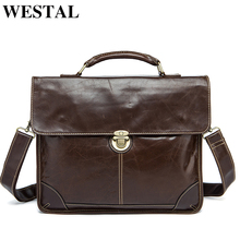 WESTAL Genuine Leather shoulder bags for men messenger briefcases for documents bussiness crossbody bags A4 file laptop handbags