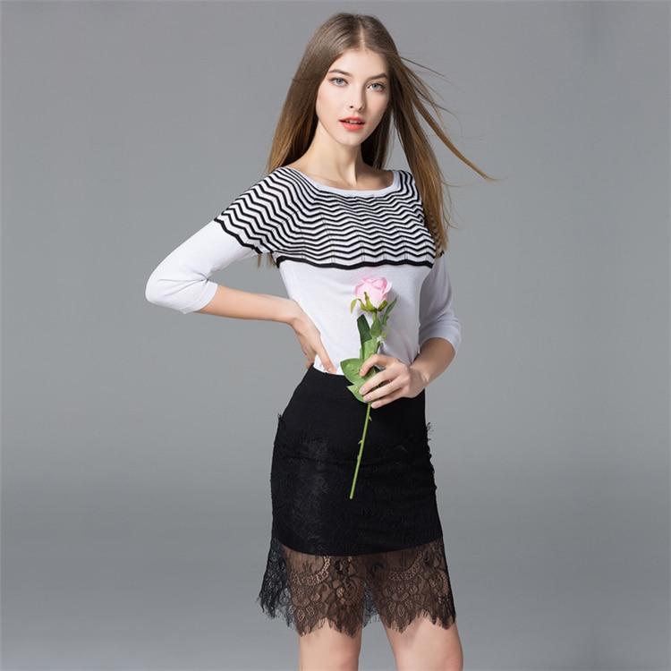 7a170 Traje Knit Falda Camisa Stripe Encaje De B17xPa