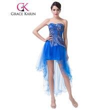 8de9010d3c9b Grazia Karin Peacock Prom Dresses Breve Posteriore Lungo Anteriore Del  Turchese Blu Abito Del Partito Sexy Alto Basso Vestito da.