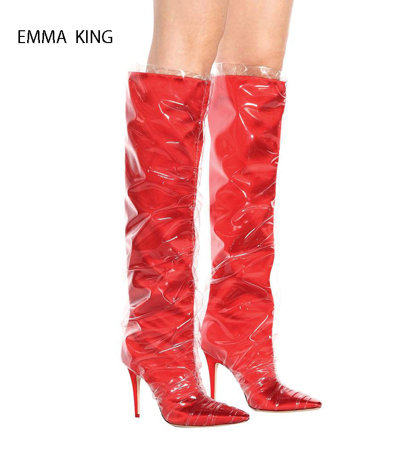 Hot Red Long Shoes Woman Luxury Martin Boots Zapatos De Mujer Pointed Toe Knee High Boots Sexy Thin High Heels Botas MujerHot Red Long Shoes Woman Luxury Martin Boots Zapatos De Mujer Pointed Toe Knee High Boots Sexy Thin High Heels Botas Mujer