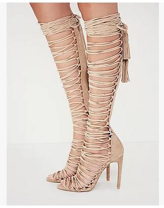 2017 fashion T-tied long women Gladiator Knee High Heels Sandals Women Rope Long Boots Lace Up Caged Sexy  shoes [expensive] supply truck rather tight rope tensioner tied up with tight rope tied with wholesale