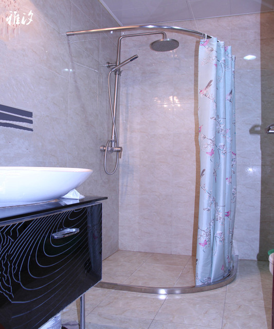 Private Custom High End Stainless Steel Shower Curtain Rod * Stainless Steel  Retaining Bar Shower
