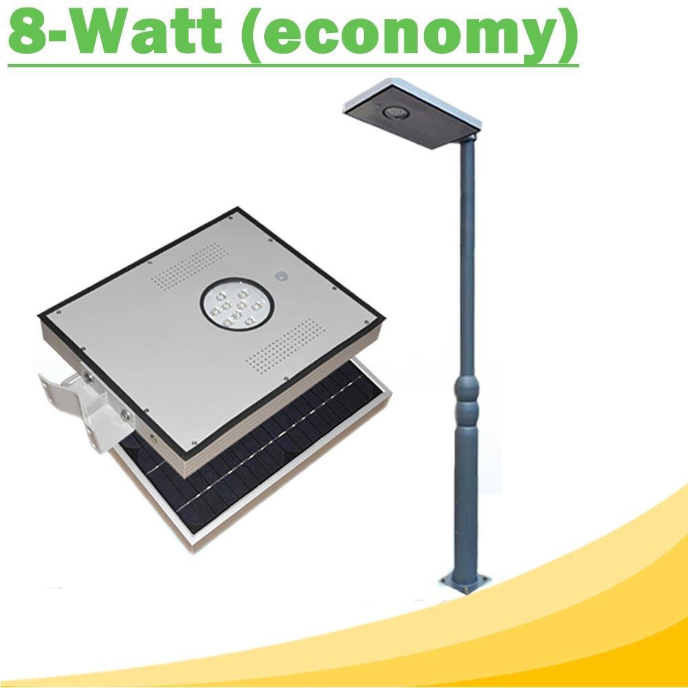 8W Integrated Solar LED Street Light Outdoor IP65 Solar Lamps with Infrared Motion Sensor Light Sensor for Street Garden Economy l806 solar 8 led light black
