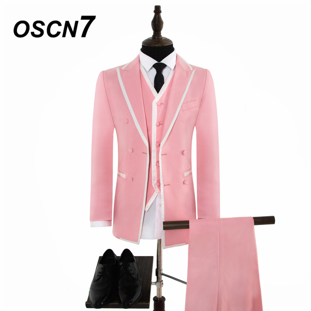 db1363def9d1 OSCN7 Pink Wide Peak Lapels Business Double-breasted Tailor Made Suits Men  3PCS Groom wedding dress Suit Men LB-WVT-0007-14