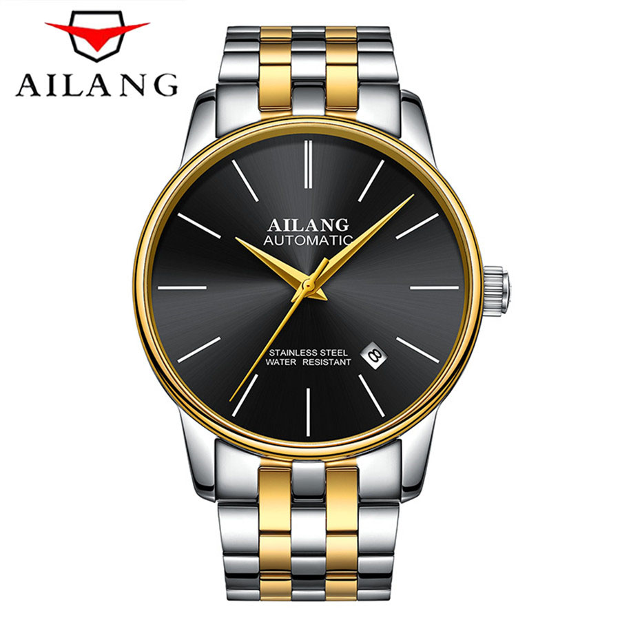 AILANG Ultra-thin Series Automatic Mechanical Watch Simple Fashion Style Mens Watches Top Brand Luxury Business Wristwatch Men ultra luxury 2 3 5 modes german motor watch winder white color wooden black pu leater inside automatic watch winder