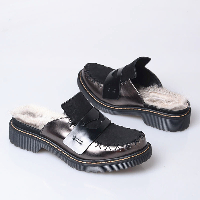Invierno Mujer Negro Zapatos Cuero Prova De Conejo Nueva Planos rojo Cálido Zapatilla Genuino Moda Exterior Piel Goma Mujeres Perfetto Zapatillas w6qBUP