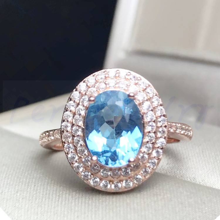 Natural blue topaz ring Free shipping Natural original blue topaz ring 925 sterling silver 2.5ct gemstone #F18062511