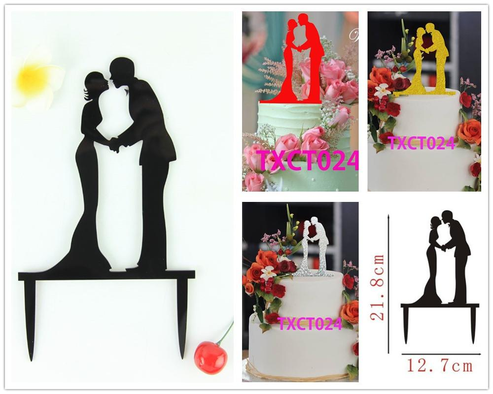 Free Shipping Black/Silver/Gold/Red Kissing Couple Acrylic Wedding ...