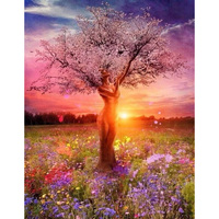 coler tree canvas paintings with no frame home decoration oil painting by numbers scenery pictures wall art