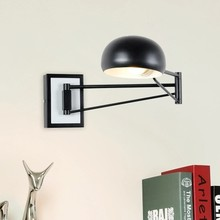 Black Modern Wall Sconce Adjustable arm Metal Wall lamp Foldable Long Swing arm Wall Light for Bedroom/Reading Room library(China)