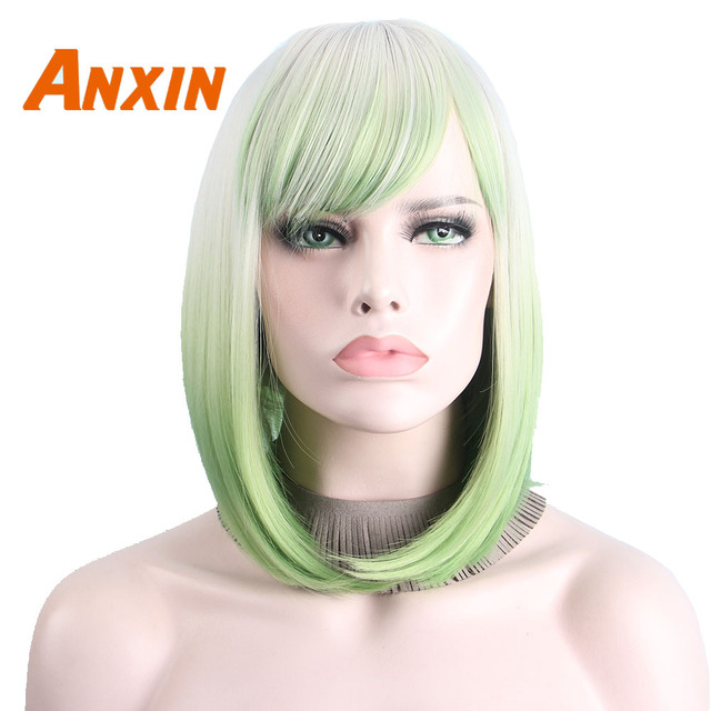 Short Ombre Wig Silver Gray Green Cosplay Wigs for Women Short Bob Wig No  Bangs Middle Part Shoulder Length Not Human Hair Anxin a438d5b47