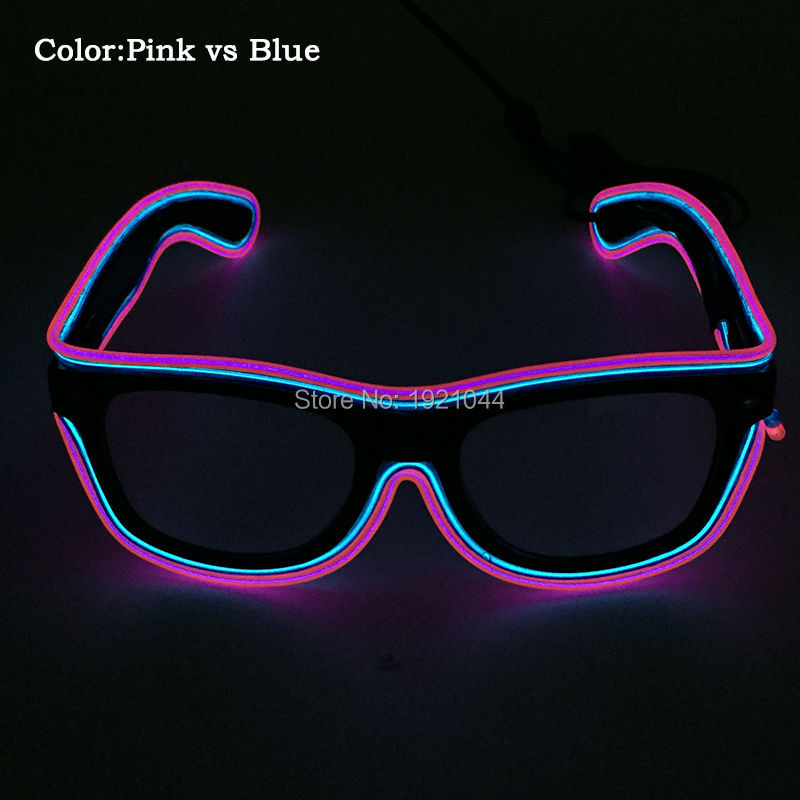 Rave Custom Double Color Pink vs Blue EL Wire Glowing Glasses with DC-3V Steady on Inverter