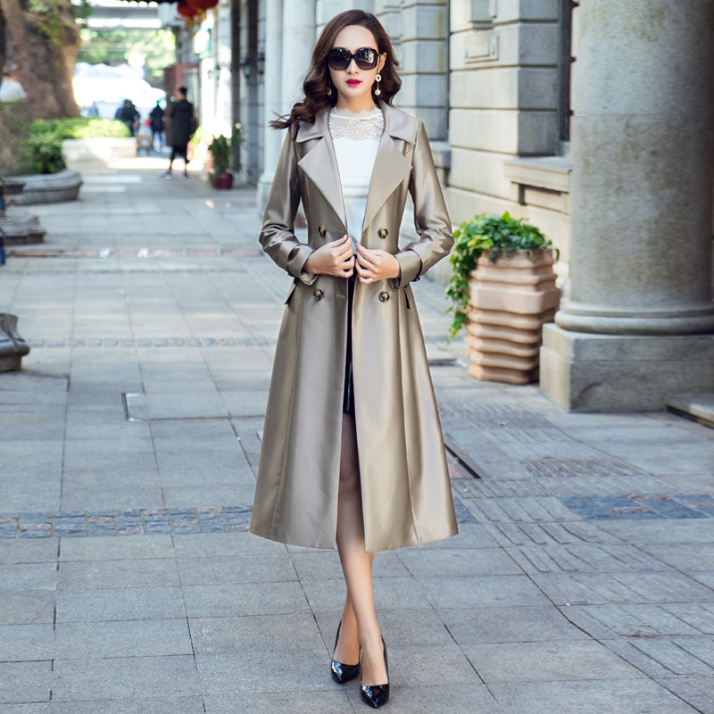 New 2019 Spring Autumn Women   Trench   Coat Double Breasted Lapel Long Womens Windbreakers Bright Black/Khaki Female Coat With Belt