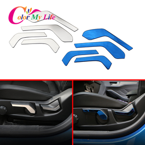 Car Front Seat Adjust Switch Button Knob Cover Trim Fit for Ford New Focus 2019 Interior Accessories Stainless Steel