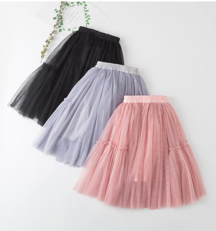 New Solid Girls Pink Tutu Skirt Kids Children Summer Spring Princess Long Ruffle Skirts Cotton Lining Mesh Pleated Pettiskirt in Skirts from Mother Kids