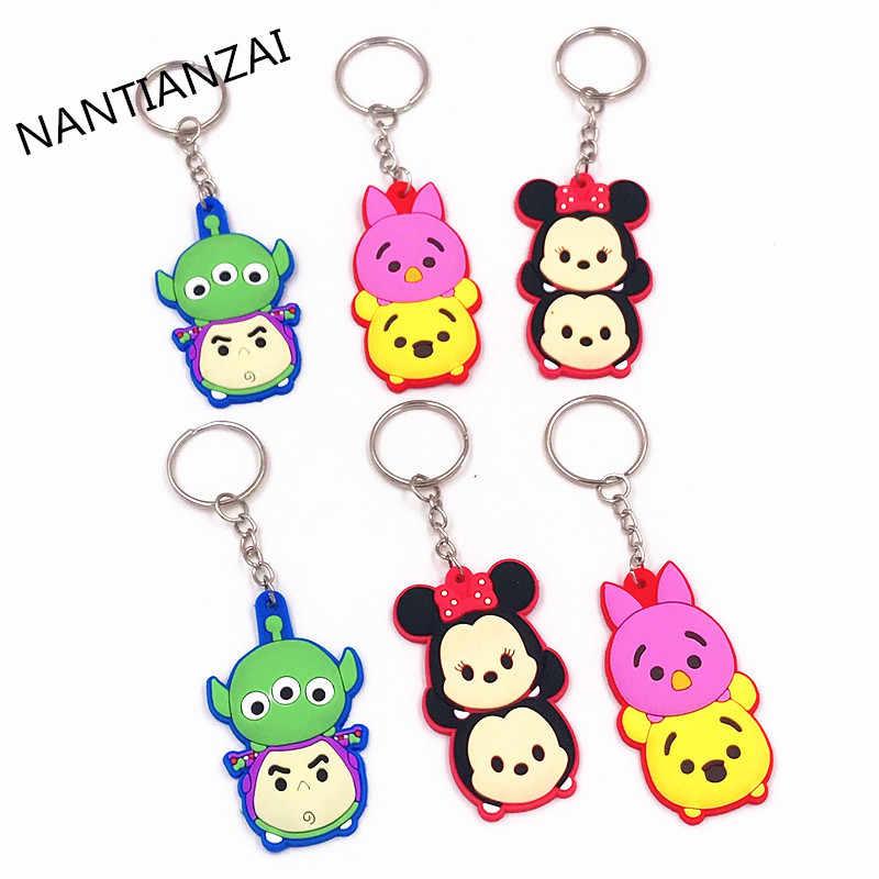 1 pçs tsum urso porco empilhado buzz mickey minnie dos desenhos animados anime chaveiro chaveiro chaveiro chaveiro para a mulher crianças meninas brinquedo presente jóias