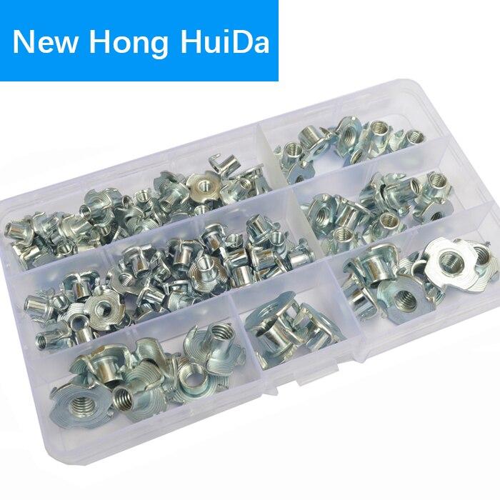 T-Nut M4 M5 M6 M8 Steel Metric Zinc Plated Nuts 90pcs Assortment Kit