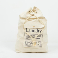 1 Pcs Canvas Laundry Bags for Dirty Clothes Foldable Letters Printed Laundry Storage Baskets Home Washing Organizer